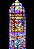 Religious art. Window of the zamora cathedral in michoacan, mexico Stock Image