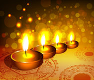 Religious background for diwali festival with lamp royalty free illustration