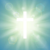Religious background with white cross. Royalty Free Stock Photography
