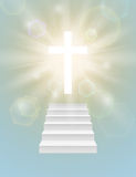 Religious background with white cross. Stock Images