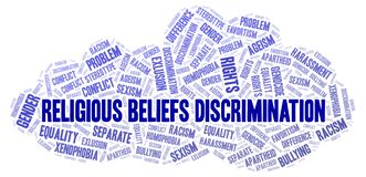 Religious Beliefs Discrimination - type of discrimination - word cloud. Great graphic illustration for your needs, beautiful and colorful royalty free illustration