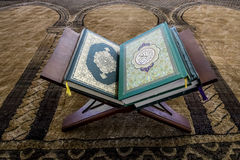 Religious books and the Koran in the mosque on stand Royalty Free Stock Images