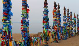 Religious bright colorful asian pillars royalty free stock photography