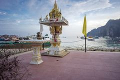 The Religious Buddhist altar at the seashore in Krabi province, in Thailand Royalty Free Stock Images