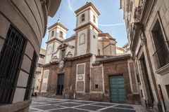 Religious building church temple of San Juan de Dios, baroque st. Yle,Murcia, Spain Royalty Free Stock Photo