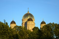 Free Religious Building, Orthodox Christian Cathedral With Golden Domes. Riga Nativity Of Christ Cathedral. Royalty Free Stock Photo - 133893185