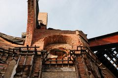 Religious building ruin X. Religious Building ruin from an arson attack stock images