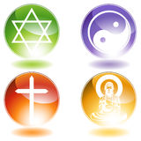 Religious Buttons. Set of 4 religious symbols Stock Images