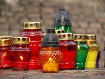 Religious candles. A closeup view of an assortment of religious candles burning on All Soul's Day Royalty Free Stock Image
