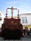 RELIGIOUS CAR IN JEREZ, SPAIN. Jerez de la Frontera easter celebration, Spain Europe.During this celebration, the Easter brotherhoods process through the old Stock Photos