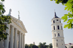 Religious Cathedral fragment and bell tower. Stock Photos