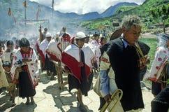 Religious celebration. Indians of Chiapas during religious celebration at village of Mitontic royalty free stock image