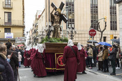 Religious celebrations of Easter Week, Spain. Tarragona, Spain - March 25, 2016: Easter Week, Holy Week or Semana Santa, Nazarene processions, bands of music Royalty Free Stock Image