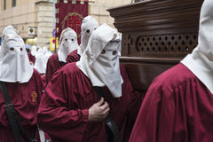 Religious celebrations of Easter Week, Spain. Tarragona, Spain - March 25, 2016: Easter Week, Holy Week or Semana Santa, Nazarene processions, bands of music Royalty Free Stock Photos