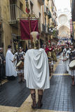 Religious celebrations of Easter Week, Spain. Tarragona, Spain - March 25, 2016: Easter Week, Holy Week or Semana Santa, Nazarene processions, bands of music Stock Photo