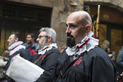 Religious celebrations of Easter Week, Spain. Tarragona, Spain - March 25, 2016: Easter Week, Holy Week or Semana Santa, Nazarene processions, bands of music Stock Photos