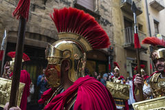 Religious celebrations of Easter Week, Spain. Tarragona, Spain - March 25, 2016: Easter Week, Holy Week or Semana Santa, Nazarene processions, bands of music Royalty Free Stock Images