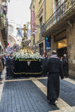 Religious celebrations of Easter Week, Spain. Tarragona, Spain - March 25, 2016: Easter Week, Holy Week or Semana Santa, Nazarene processions, bands of music Stock Photography