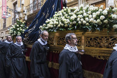 Religious celebrations of Easter Week, Spain. Tarragona, Spain - March 25, 2016: Easter Week, Holy Week or Semana Santa, Nazarene processions, bands of music Stock Image