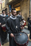 Religious celebrations of Easter Week, Spain. Tarragona, Spain - March 25, 2016: Easter Week, Holy Week or Semana Santa, Nazarene processions, bands of music Royalty Free Stock Photography