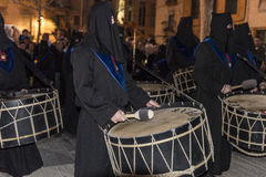 Religious celebrations of Easter Week, Spain. Tarragona, Spain - March 25, 2016: Easter Week, Holy Week or Semana Santa, Nazarene processions, bands of music Stock Images