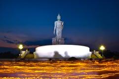 Religious ceremonies, Burning candle, Phra ubosot. Burning candle lit procession around the Buddha Stock Images
