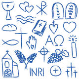 Religious chalky symbols. Illustration of religious hand-drawn symbols - chalky style Royalty Free Stock Photo