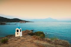 Religious chapel along the Aegean sea. Chalkidiki, Greece royalty free stock images