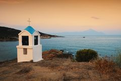 Religious chapel along the Aegean sea. Chalkidiki, Greece stock image