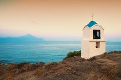Religious chapel along the Aegean sea. Chalkidiki, Greece royalty free stock image