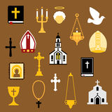 Religious christian and catholic flat icons Stock Photos