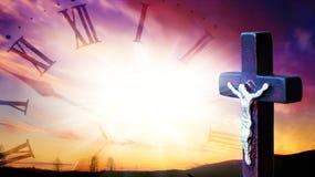 Sunrise . Light from sky . Religion background . Religious christian cross with sunset sky . Christian cross on sunset background . Way to God . bright light stock photography