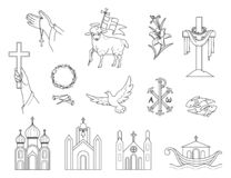 Free Religious Christian Signs And Symbols. Set Icons Crown Of Thorns, Church,  Flying Pigeon, Fish And Ship. Royalty Free Stock Photography - 207267537