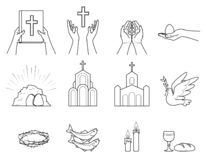 Religious Christian symbols and signs vector illustration