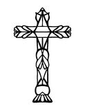 Religious Christian vector design of Easter asymbol of ornate hand drawn cross Royalty Free Stock Images