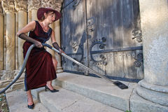 Religious cleaner woman Royalty Free Stock Photos