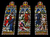 Religious colorful stained glass window. Arundel, United Kingdom - June 25, 2016: Religious colorful stained glass window in Arundel Cathedral, the Cathedral Royalty Free Stock Photos