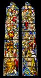 Religious colorful stained glass window. Arundel, United Kingdom - June 25, 2016: Religious colorful stained glass window in Arundel Cathedral, the Cathedral Royalty Free Stock Photo