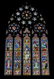 Religious colorful stained glass window Stock Photography