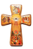 Religious cross. Wooden religious cross isolated with religious draws Stock Images