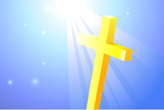 Religious Cross on bright Background Stock Photo