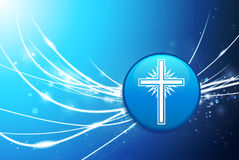 Religious Cross Button on Blue Abstract Light Background Royalty Free Stock Photography