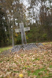Religious Cross Carved in Tree Stump Stock Image
