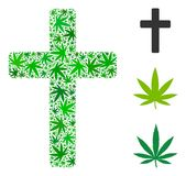 Religious Cross Collage of Hemp Leaves royalty free illustration