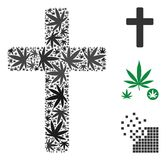 Religious Cross Composition of Weed Leaves stock illustration
