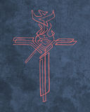Religious Cross with different symbols Stock Photography