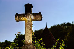 Religious cross dramatic view at sunset Stock Image