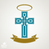 Religious cross emblem with nimbus and decorative ribbon, spirit Stock Photo