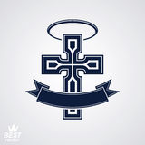 Religious cross emblem with nimbus and decorative ribbon, spirit Stock Image