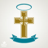 Religious cross emblem with nimbus and decorative ribbon, spirit Royalty Free Stock Photos